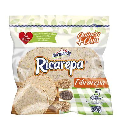 Arepa-NORMANDY-ricarepa-fibrarepa-QUINUA-CHIA-x450g